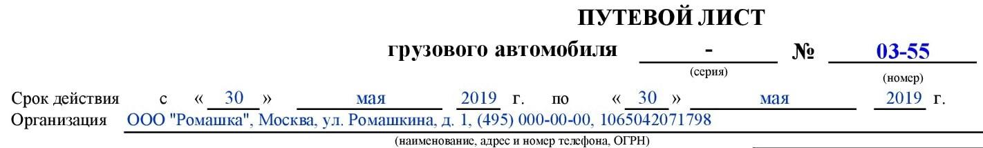Путевой лист общие сведения